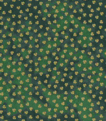 St. Patrick's Day Fabric 43''-Green Metallic Shamrocks