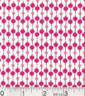 Keepsake Calico Fabric - Coral Black Dot Stripe