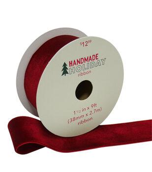 Handmade Holiday Christmas Velvet Ribbon 1.5''x9'-Burgundy