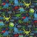 Novelty Cotton Fabric -Dinos on Navy