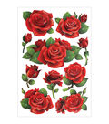 Forever In Time Glitter Red Roses Foil Stickers Sheet