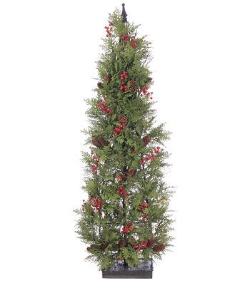Christmas 60'' Cedar, Berry & Pinecone Entry Tree-Red & Green