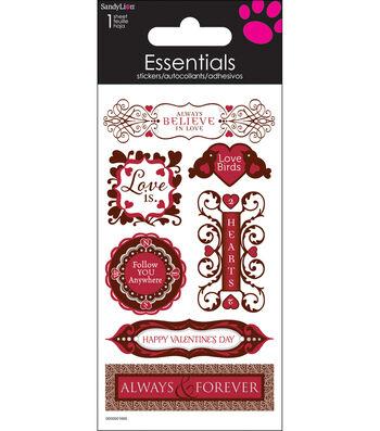 "Essentials Dimensional Stickers 2.25""X5"" Sheet-Happy Valentines Day"