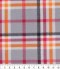 Blizzard Fleece Fabric-Trad Gray Orange Plaid