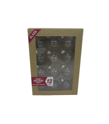 Maker's Holiday Craft 12pc Glass 40mm Ornaments-Clear