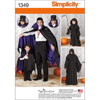 Simplicity Pattern 1349A Men & Boys Cape Costumes-Size S-L/S-XL