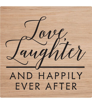 American Crafts 2''x2'' Rubber Stamp-Love, Laughter & Happily Ever After