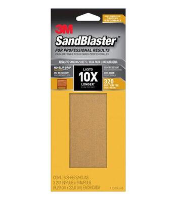 3M SandBlaster Advanced Abrasives 6 pk 320-grit Sanding Sheets