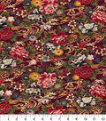Asian Inspired Cotton Fabric 44\u0022-Waving Floral Black Met