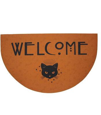 Maker's Halloween Rubber Doormat-Black Cat & Welcome