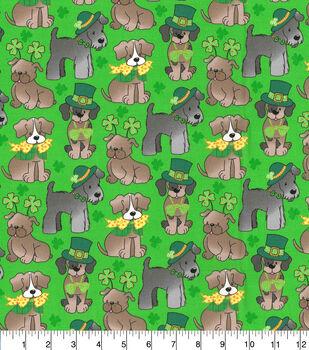 St. Patrick's Day Cotton Fabric-Glitter Pups