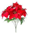 Blooming Holiday Christmas Poinsettia with Glitter Center Bush-Red