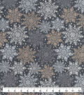 Snuggle Flannel Fabric-Snowflakes on Gray