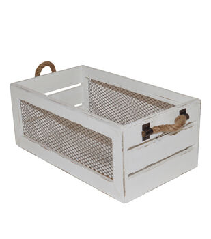 Farm Storage Small Crate with Chicken Wire-White
