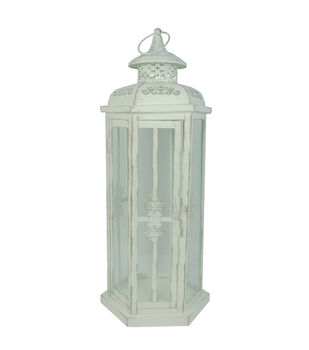 Hudson 43 Candle & Light Collection Distressed Metal Lantern White Lg