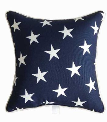 Americana Patriotic Polyester Pillow-White Stars on Blue