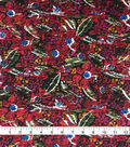 Knit Prints Rayon Spandex Fabric-Black Red Striped Floral
