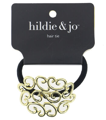 hildie & jo Black Ponytail Hair Tie with Gold Open Scroll