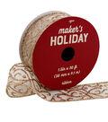 Maker\u0027s Holiday Christmas Ribbon 1.5\u0027\u0027x30\u0027-Gold Swirls on Ivory