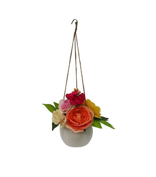 Fresh Picked Spring 22'' Hanging Pot with Peonies