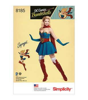 Simplicity Pattern 8185 Misses' Super Girl Costume-Size R5 (14-22)