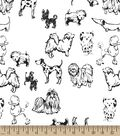 Dog Sketch Print Fabric