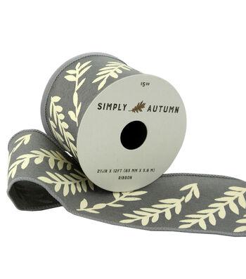 Simply Autumn Ribbon 2.5''x12'-Ivory Ferns on Slate