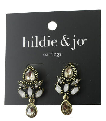 hildie & jo Antique Gold Earrings-Cream & Ivory Crystals