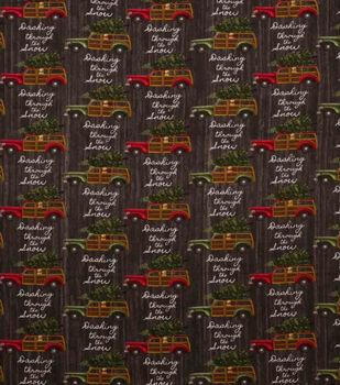 Super Snuggle Flannel Fabric-Dashing Through the Snow Truck