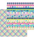 Doodlebug Hello 25 pk 12\u0027\u0027x12\u0027\u0027 Double-Sided Cardstock-Poppy Plaid