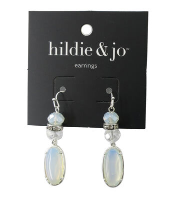 hildie & jo Oval Silver Earrings-White & Clear Stones