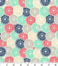 Quilter\u0027s Showcase Cotton Fabric -Coral & Mint Packed Floral Burst