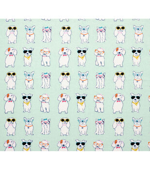 Super Snuggle Flannel Fabric-Stylish Pup with Glasses