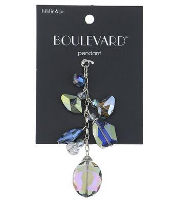 hildie & jo Boulevard 3'' Silver Pendant Chain-Iridescent Beads