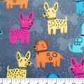 Anti-Pill Plush Fleece Fabric-Multicolor Dogs on Gray
