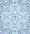 Snuggle Flannel Print Fabric -Charmeine Medallion Blue