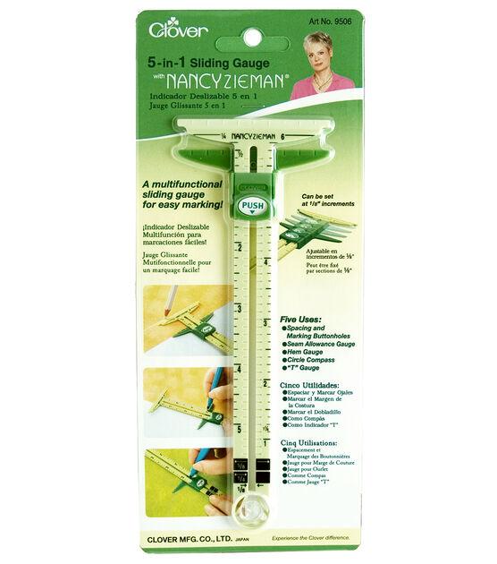 Marking Button Holes AMOLEY T-Shaped Sliding Gauge Measuring Sewing Tool 5-in-1 Sliding Gauge Measuring Sewing Ruler Tool Plastic Gauge for Sewing