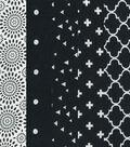 Charm Pack Cotton Fabric 30 Strips 5\u0027\u0027-Assorted Black Patterns