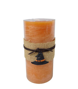 Maker's Halloween 3''x6'' Orange Pillar Candle with Witch Charm