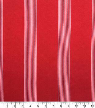 Knit Prints Pima Cotton-Red White Thick & Thin Stripe