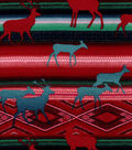 Snuggle Flannel Fabric-Aztec Deer on Red & Teal