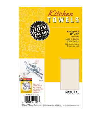 "Stitch 'Em Up Dish Towels 18""X28"" 2/Pkg- Natural"