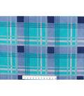 No-Sew Throw Fleece Fabric 72\u0022-Teal Navy Plaid