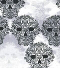 Holiday Inspirations Fabric- Halloween Gothic Skulls Foil
