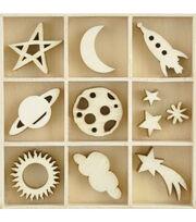 Kaisercraft Themed Mini Wooden Flourishes 55/Pkg-Star & Moon, , hi-res