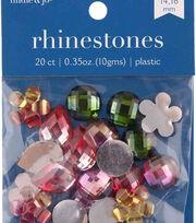 hildie & jo 20 pk Assorted Plastic Flat Back Rhinestones-Multicolor, , hi-res