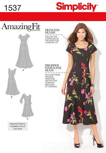 Simplicity Pattern 1537BB 20W-28W -Misses Dresses