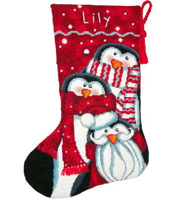 "Dimensions Stocking Needlepoint Kit 16"" Long-Holiday Penguin Trio"