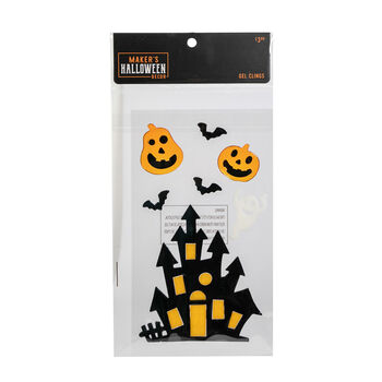 Maker's Halloween Decor Gel Clings-Haunted House & Jack-o'-lantern