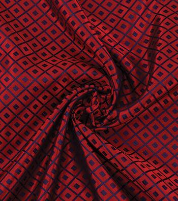 Yaya Han Cosplay Brocade Fabric 58''-Blue Japanese Geometric on Red
